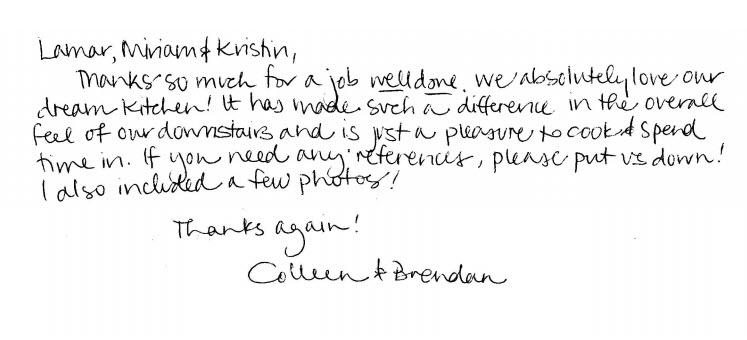 Colleen & Brandon testimonial for S&S Kitchen and Bath